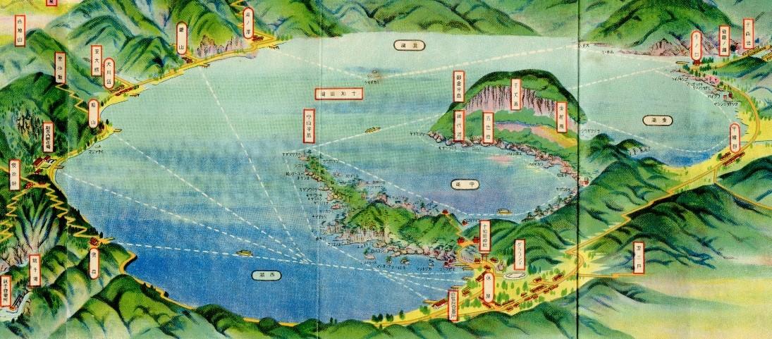 ふるさとの物語 第108回 鳥瞰図「十和田湖名所図会」 ~景勝地をびっしり表記~