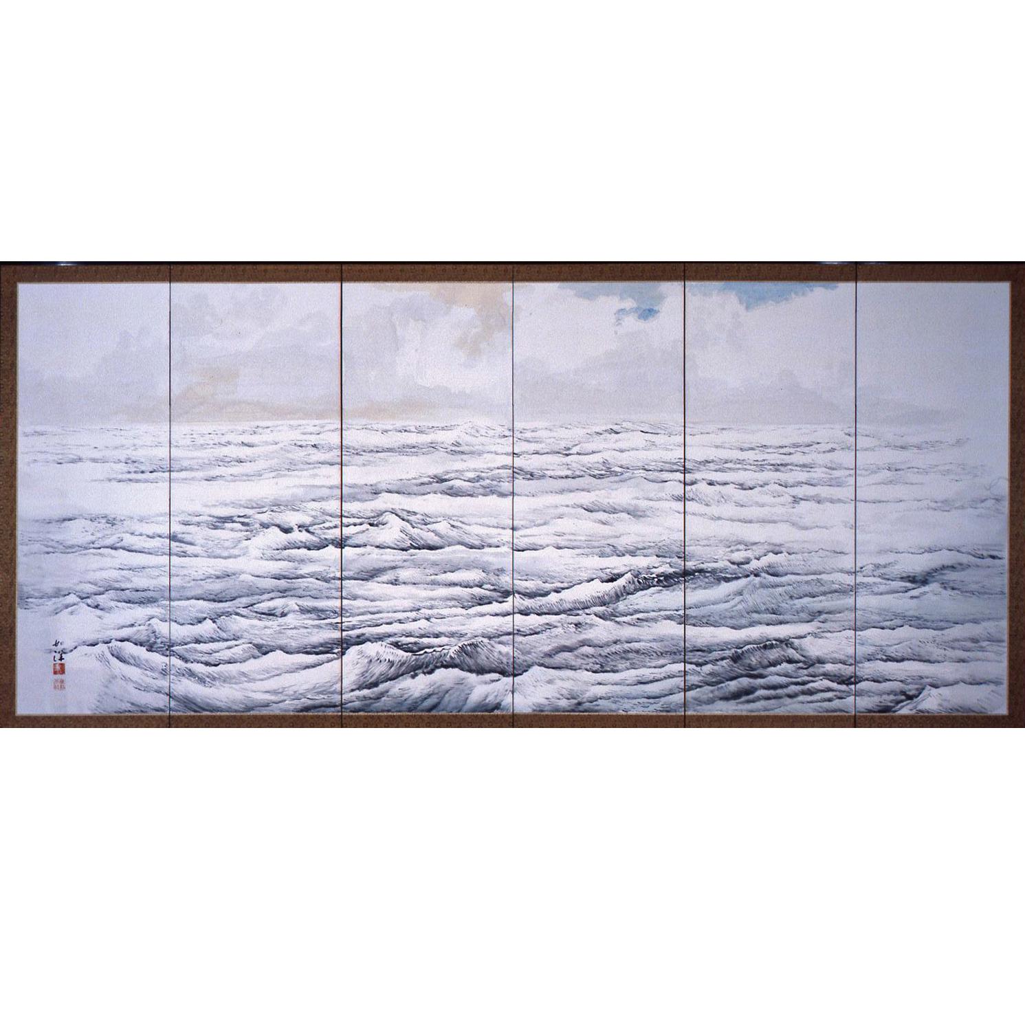 野澤如洋「春の海・秋の海図屏風」