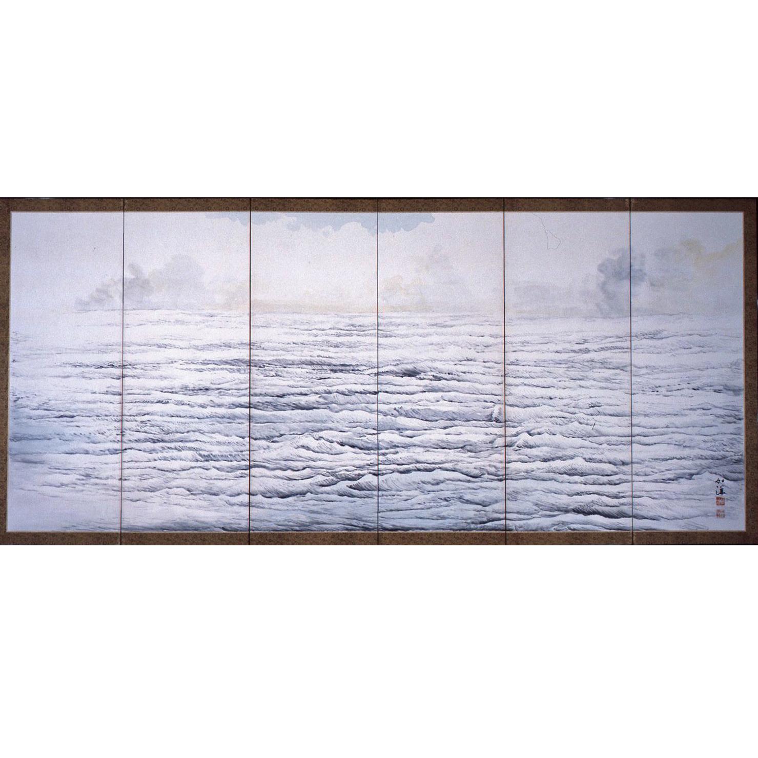 野沢如洋「春の海秋の海図屏風」(紙本墨画淡彩、六曲一双)
